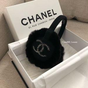 Auth Chanel Earmuffs w/ CC Logo Black Fur RARE